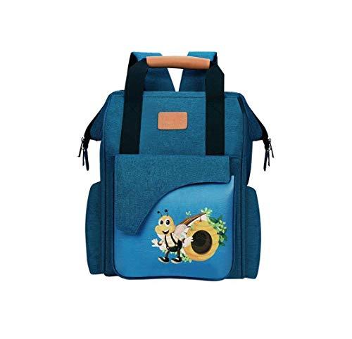 Quanjie Zaino Mamma Neonato Fasciatoio Impermeabile Oxford Borsa per Neonati Grande Capacità Borse per Bambino Cambio Diaper Bag di Viaggio con Passeggino Gancio(Modello blu)
