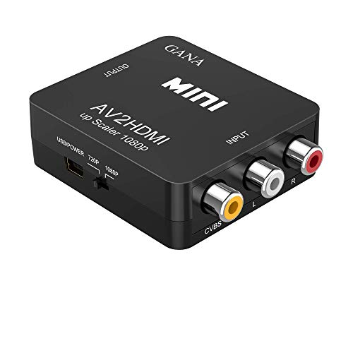 GANA Adattatore RCA a HDMI, Mini AV a HDMI Box Supporta 1080P con Cavo USB per PC/Laptop/Xbox/PS4/PS3/TV/STB/VCR/Fotocamera/DVD - Nero