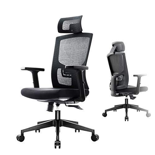 Komene Ergonomischer Bürostuhl mit verstellbaren Armlehnen, Kopfstütze, Lordosenstütze und Rückenlehne, Schwarze Computerstühle für Zuhause und Büro, Einfach Installieren