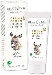 DELICATO D'ASINA - Bio Body Cream with Donkey Milk - Highly Moisturizing and Nutritive - Rich in Protein - AIAB Certified - 200 ml