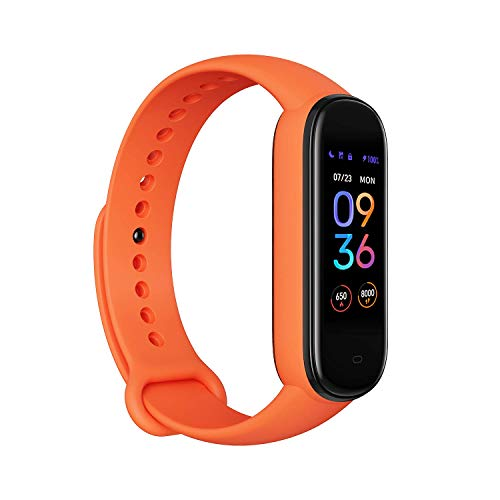 Amazfit Band 5 Fitness Tracker with Alexa Built-in, 15-Day Battery Life, Blood Oxygen, Heart Rate, Sleep Monitoring, Women's Health Tracking, Music Control, Water Resistant, Orange