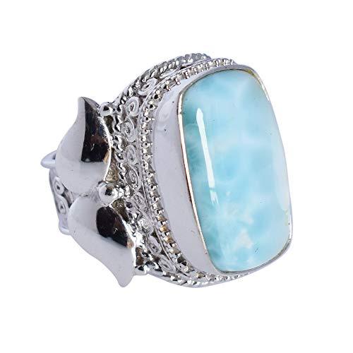 Anillo de piedra preciosa Larimar azul del cielo del mar del Caribe, anillo ajustable hecho a mano, anillo de plata de ley 925, joyería bohemia, regalos para mujer FSJ-4880
