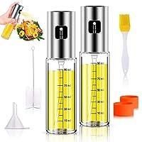 anmyox - set spray per olio d'oliva, 100 ml, 5 in 1, bottiglia in vetro per barbecue, insalata, arrosti, grigliare (2 pezzi)