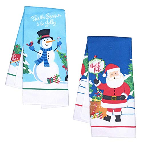 Christmas Towels Set of 2 / Decorative Christmas Kitchen Towels / Hand Towels for Bathroom Decorative Set / Christmas Kitchen Decorations / Holiday Dish Towels / Christmas Dish Towel (Santa & Snowman)