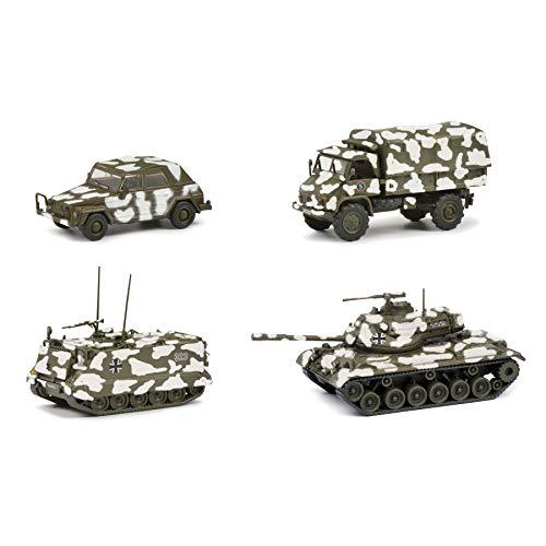 Schuco 452653000 Set Wintertarnung, M113, M47, Unimog S404, WV Kübel, Modellauto, Maßstab 1:87, Tarnfarbe