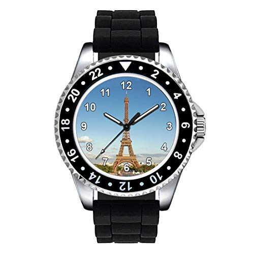 Timest - Torre Eiffel Paris - Unisex Reloj con Correa de Silicona Negro Analógico Cuarzo CSE017SB