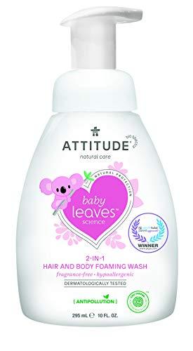ATTITUDE Baby Leaves 2-in-1 Waschschaum für Körper und Haar – parfümfrei (1 x 295 ml)