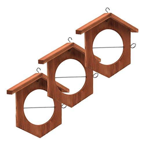 Gardigo Apfel Futterstation 3er Set I Meisenknödelhalter zum Aufhängen I Futterstation, Futterhalter für Wildvögel