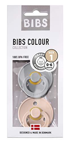BIBS fopspeen Colour 2-pack Cloud/Blush maat 1 (0-6 maanden), natuurlijk rubber, Deense fopspeen met kersenvorm
