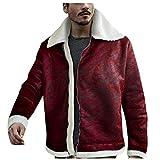 SSDXY Men Winter Shearling Warm Liner Lapel Leather Zipper Outwear Tops Coat Men's Loose Zip Lamb Fur Collar Jacket M-3XL
