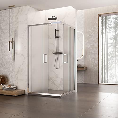 Mampara de ducha, doble apertura deslizante, 6 mm de altura, 195, cristal mate, reversible, cristal antigoteo