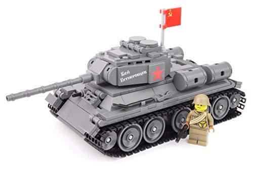 BricksStuff Tanque T34 / 85 con Figura I Soldado Ruso de la Segunda Guerra Mundial, Accesorios Personalizados de BrickArms | Kit con Instrucciones | Compatible con Lego®