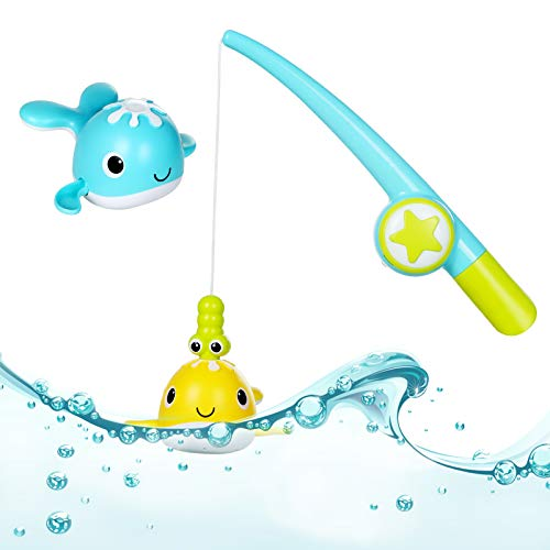 BAQSOO Angelbadespielzeug für Kleinkinder, Magnetische Angelspiele mit 2 niedlichen Fischen und Angelrute, Aufziehwale Babybadespielzeug für Badezimmer Badewanne Schwimmbäder Jungen Mädchen