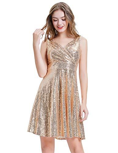 GRACE KARIN Women's V-Neck Flared Bridesmaid Dress Knee Length Size M Rose Gold CL061-2