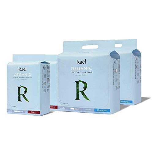 Rael Organic Incontinence Bundle Pack - Long Liners 2 Pack and Moderate Pads 2 Pack, Bladder Control and Postpartum, 4-Layer Core Protection with Leak Guard Technology (132 Count)