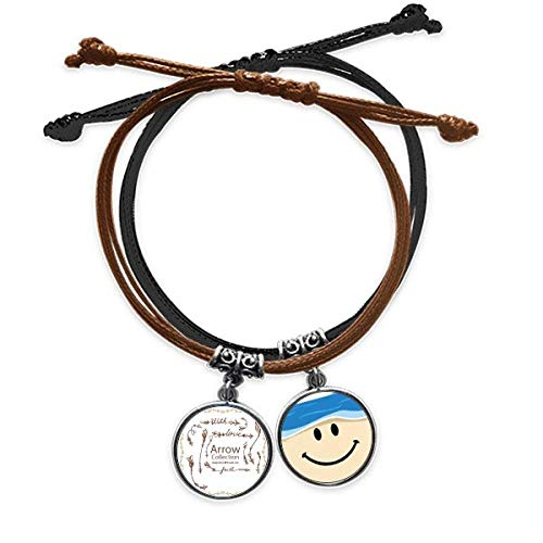 Bestchong Bohe mia Wind Fashion Arrow Bracelet Rope Hand Chain Leather Smiling Face Wristband
