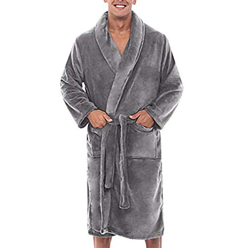 SDCVRE Bata de baño,Albornoz de Felpa cálida de Invierno Suelta para Hombre, Ropa de Ducha para el hogar, Ropa de Dormir Larga, Abrigo para Hombre de Interior, Gris, XXL