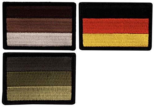 Café Viereck ® Bundeswehr Deutschland Flaggen Patch Gestickt mit Klett - 6 cm x 4 cm - 3 Stück