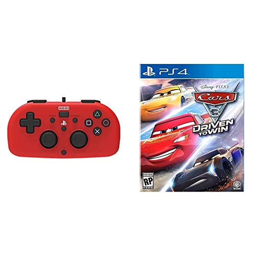 PS4 Mini Wired Gamepad (Red) by HORI - Officially Licensed by Sony & Cars 3: Driven to Win - PlayStation 4