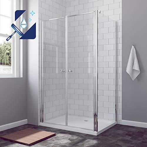 AQUABATOS® 80 x 80 x 195 cm Duschkabine, 80 cm Pendeltür Duschtür Nischentür Schwingtür mit 80 cm Seitenwand, 6 mm ESG Glas mit Nano Beschichtung