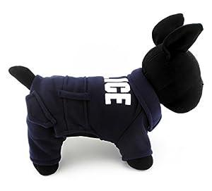 Ranphy Petit Animal Costume de vêtements d'hiver pour chiens chats Police Veste Pull JumpSuit Vêtements Bleu foncé