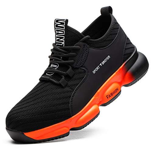 SROTER Chaussures de Sécurité pour Homme Femme, Standard S1 Embout Acier Respirant Chaussures de Travail Légère Chantiers et Industrie Basket,10 Noir Orange,38 EU