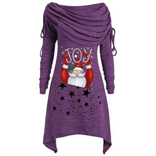 BOLANQ Weihnachtsbluse Plus Size Womens Fashion Solid Geraffte Lange Foldover Kragen Tunika Top Bluse Tops(Large,A-Lila)