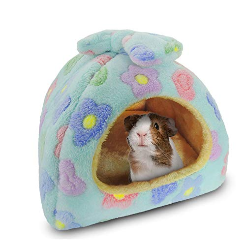 HOMEYA Small Animal Pet Bed, Sleeping House Habitat Nest for Guinea Pig Hamster Hedgehog Rat Chinchilla Hideout Bedding Snuggle Sack Cuddle Cup Cage Accessories with Removable Washable Mat (Blue)