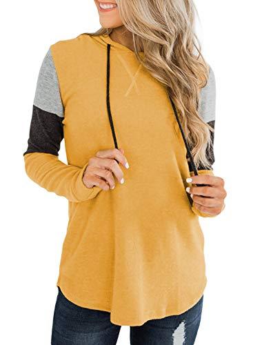 Sudadera de manga larga con cordón para mujer, estilo casual, color amarillo