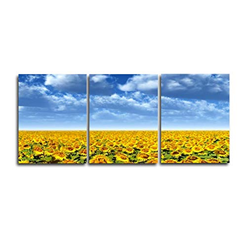 N / A 3 Panel Canvas Abstract Sunflower Blue Sky Poster for Home Living Room Bedroom Decoration Frameless 100cmx105cm