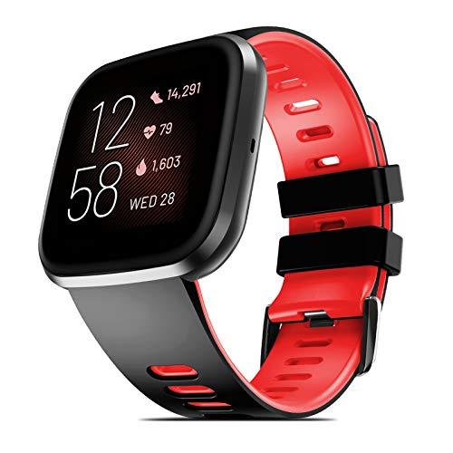 NotoCity Cinturino Compatibile con Fitbit Versa Fitbit Versa 2 Versa Lite Bracciale di Ricambio in Morbido Silicone(Nero Rosso,S)