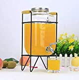 CROCKERI Mason Jar Beer Dispenser with Tap & Air Tight Lid, Cocktail Barrel with Water Faucet, Cold Water Pitcher for Detox Water, Lemonade, Beverage Dispenser (4 Liter, with Full Craft Stand)