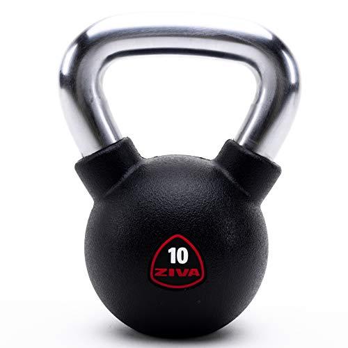 ZIVA Premium Virgin Rubber Solid Cast Steel Kettlebell Weight - Odorless Design, Ergonomic Comfort Grip - Core and Strength Training Exercise Workout - 10 lbs.