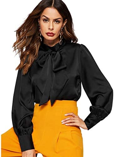 Romwe Women s Solid Print Elegant Bow Tie Neck Long Sleeve Work Office Blouse Top Black Satin product image