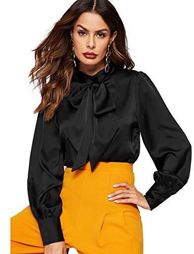 Romwe Women's Solid Print Elegant Bow Tie Neck Long Sleeve Work Office Blouse Top Black Satin L