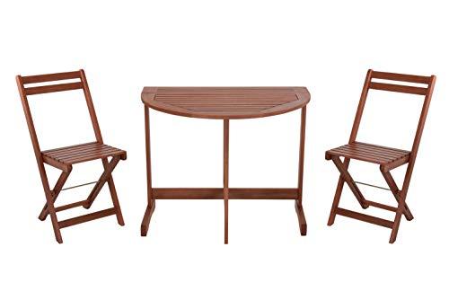 Spetebo Juego de muebles de balcón de madera, 2 sillas + mesa plegable, juego de balcón