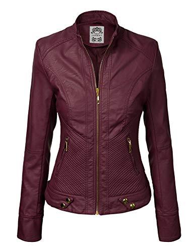 Made By Johnny MBJ WJC747 Womens Dressy Vegan Leather Biker Jacket XXL Wine