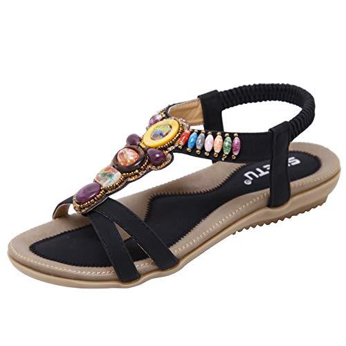 JDGY Sandalias para mujer, sandalias planas, chanclas para verano, vintage, abiertas, elegantes, para el tiempo libre, para la playa, Negro , 38