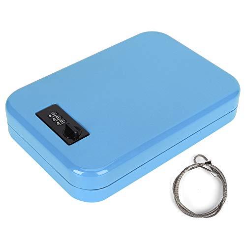 Liyeehao Caja de Seguridad, Caja de Seguridad con Soporte para Almacenamiento, Caja de Almacenamiento sin Llave Hojas de Acero laminadas en frío Portátil para Oficina en casa(Blue)
