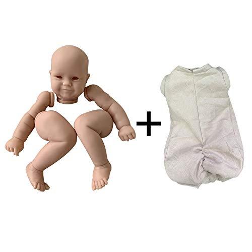 Xpccj Kit de muñeca de bebé Reborn de 24 pulgadas de simulación de ojos suaves cuerpo lindo niños compañeros de juego cabeza de vinilo sin pintar DIY