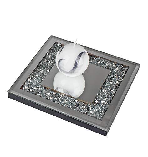 Lifestyle & More Wunderschöner Untersetzer Tischuntersetzer aus Holz und Spiegel Glas Silber 20x20 cm