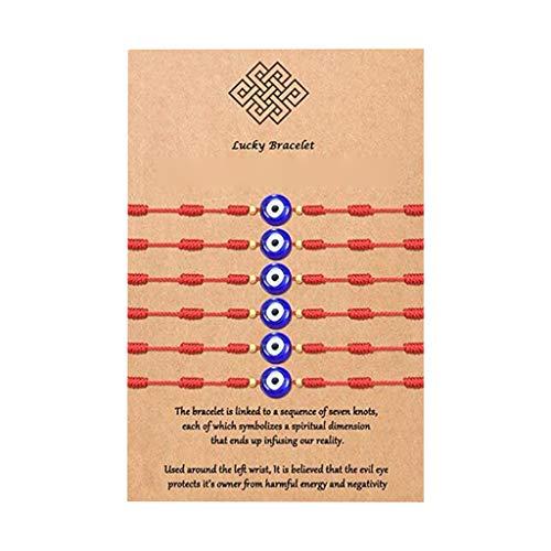 WOWOWO Pulsera de Cabalá de 6 Piezas, 7 Nudos de Hilo Rojo, protección Ocular, Pulseras de Buena Suerte