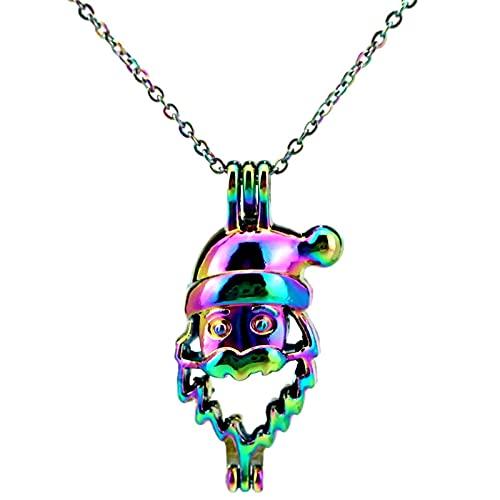 Color Del Arco Iris Navidad Papá Noel Jaula De Cuentas Colgante Caja Colgante Collar Aromaterapia Aceite Esencial Difusor Colgante Accesorios Joyería
