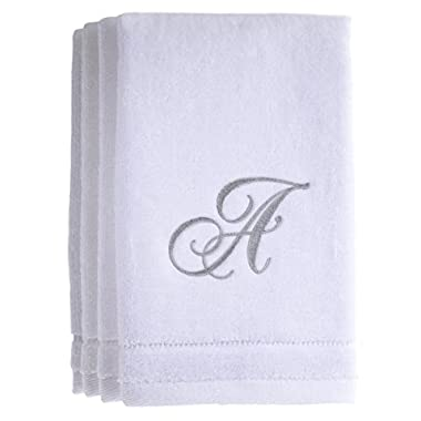 Monogrammed Towels Fingertip, Personalized Gift, 11 x 18 Inches - Set of 4- Silver Embroidered Towel - Extra Absorbent 100% Cotton- Soft Velour Finish - For Bathroom/ Kitchen/ Spa- Initial A (White)