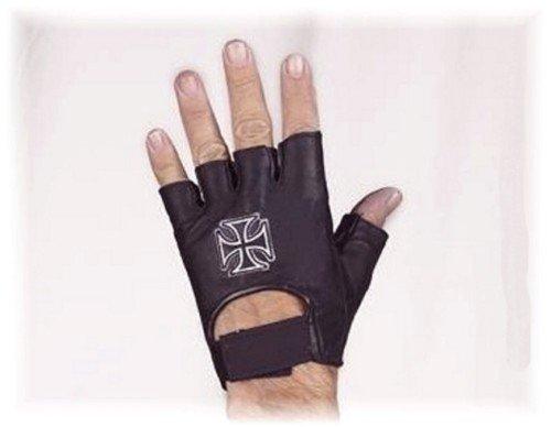 Guantes de piel negra con cruz de Malta no homologados CE (L)