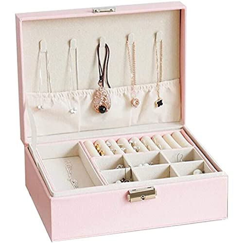 Joyero Para Mujer Organizador de Joyas, Caja de Almacenamiento de Joyas con Cerradura de 2 Niveles, Diseño de Cuero Anti-oxidación, Gran Capacidad Para Collares Pendientes Anillos,Pink-Doublelayer