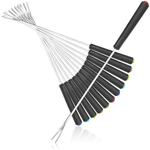 COM-FOUR® 12x Fondue Gabeln aus Edelstahl - Fonduebesteck - Fonduespieße mit Kunststoffgriff (12-teilig - Kunststoffgriff)