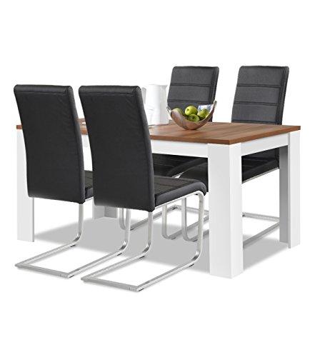 agionda® Esstisch Stuhlset : 1 x Esstisch Toledo Nussbaum/Weiss 120 x 80 4 Freischwinger schwarz