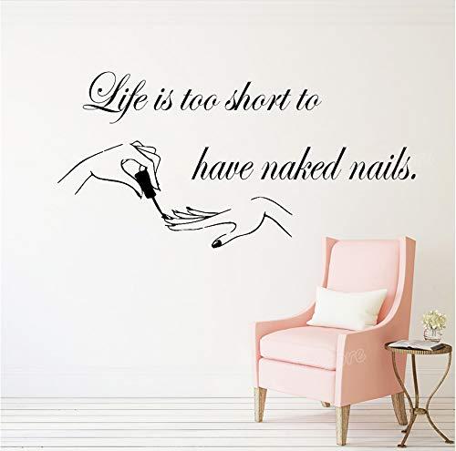 Das Leben ist zu kurz, um Nägel Vinyl Wall Decals Zitat Nagelstudio Kunst Nagellack Maniküre Pediküre Beauty Salon 56x28cm zu haben