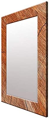 999Store Printed Brown Wood Pattern Mirror